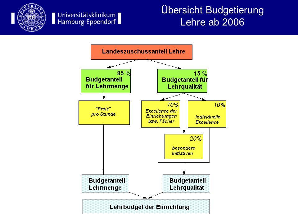 Ziele der Neubudgetierung ab 2006 Transparente und gerechte Allokation der Haushaltsmittel in Relation zur Lehrmenge Belohnung von Lehrqualität der In