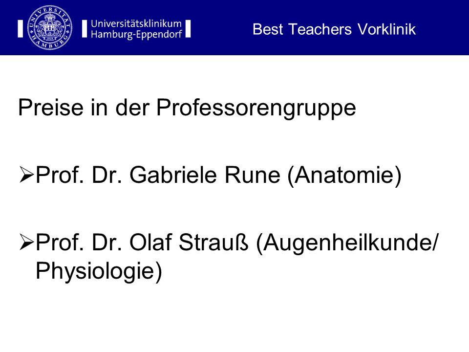 Best Teachers Vorklinik Preise in der Nichtprofessorengruppe: 1. Preis: Dr. Heidrun Lauke-Wettwer (Anatomie) 2. Preis: Dr. Lepu Zhou (Anatomie) 3. Pre