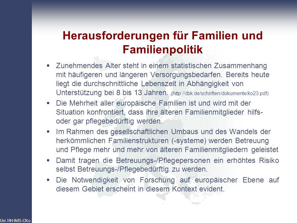 Pan- European Network Core Group Uni HH-IMS-CKo 10 Herausforderungen für Familien und Familienpolitik Zunehmendes Alter steht in einem statistischen Z
