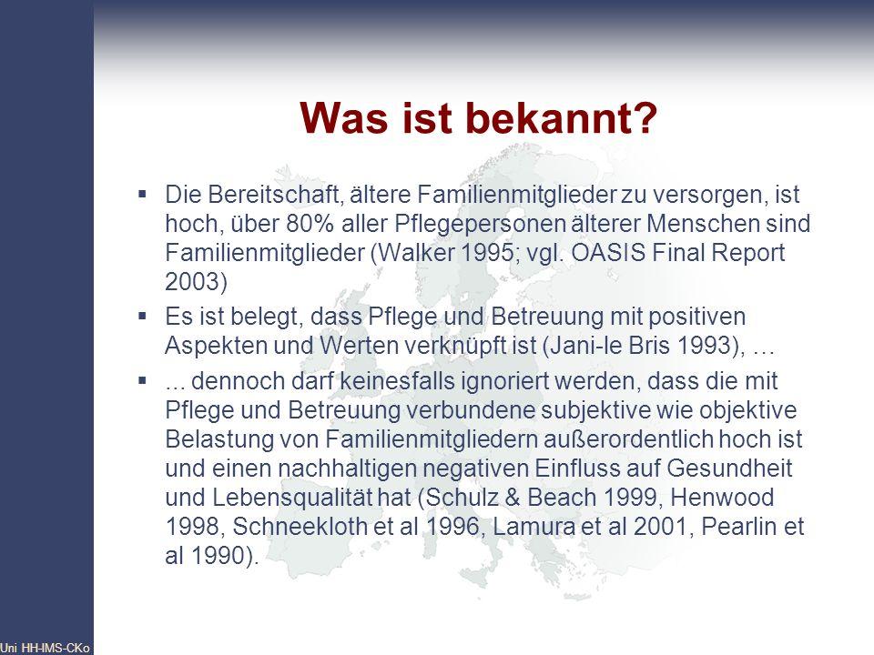 Pan- European Network Core Group Uni HH-IMS-CKo 12 Was ist bekannt? Die Bereitschaft, ältere Familienmitglieder zu versorgen, ist hoch, über 80% aller