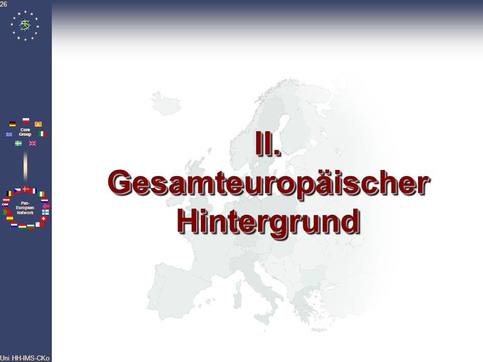 Pan- European Network Core Group Uni HH-IMS-CKo 26 II. Gesamteuropäischer Hintergrund