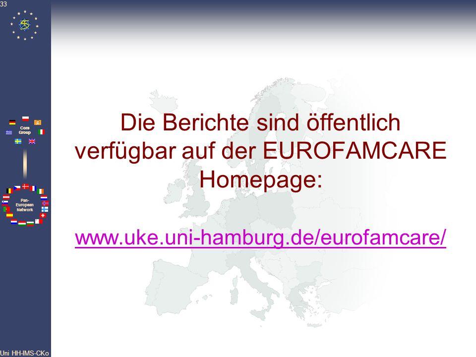 Pan- European Network Core Group Uni HH-IMS-CKo 33 Die Berichte sind öffentlich verfügbar auf der EUROFAMCARE Homepage: www.uke.uni-hamburg.de/eurofam