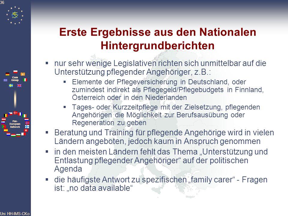 Pan- European Network Core Group Uni HH-IMS-CKo 36 Erste Ergebnisse aus den Nationalen Hintergrundberichten nur sehr wenige Legislativen richten sich