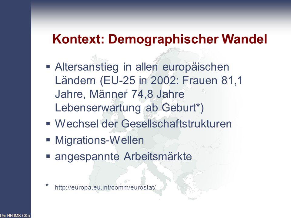 Pan- European Network Core Group Uni HH-IMS-CKo 5 Altersanstieg in allen europäischen Ländern (EU-25 in 2002: Frauen 81,1 Jahre, Männer 74,8 Jahre Leb