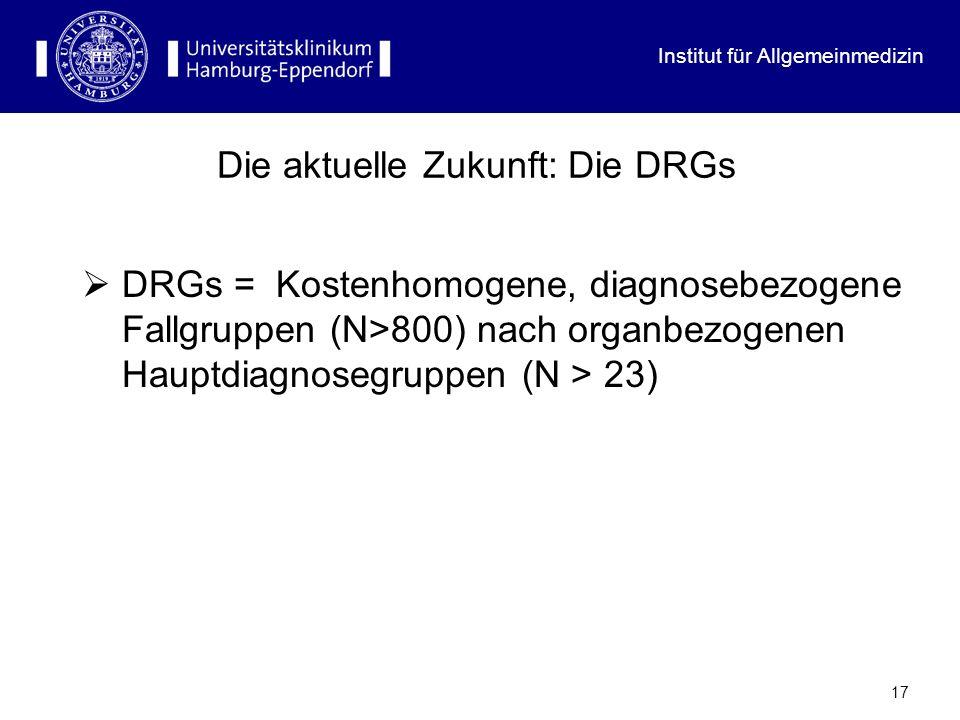 Institut für Allgemeinmedizin 17 Die aktuelle Zukunft: Die DRGs DRGs = Kostenhomogene, diagnosebezogene Fallgruppen (N>800) nach organbezogenen Hauptd