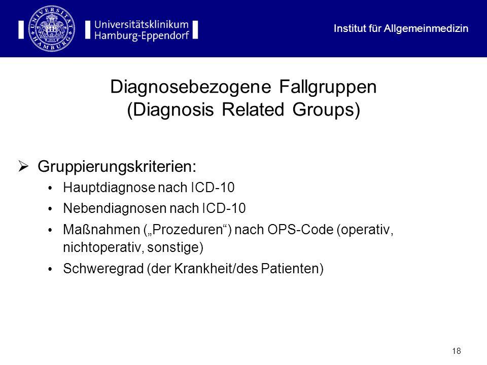 Institut für Allgemeinmedizin 18 Diagnosebezogene Fallgruppen (Diagnosis Related Groups) Gruppierungskriterien: Hauptdiagnose nach ICD-10 Nebendiagnos