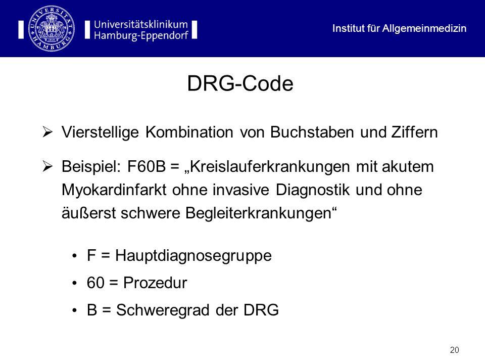 Institut für Allgemeinmedizin 20 DRG-Code Vierstellige Kombination von Buchstaben und Ziffern Beispiel: F60B = Kreislauferkrankungen mit akutem Myokar