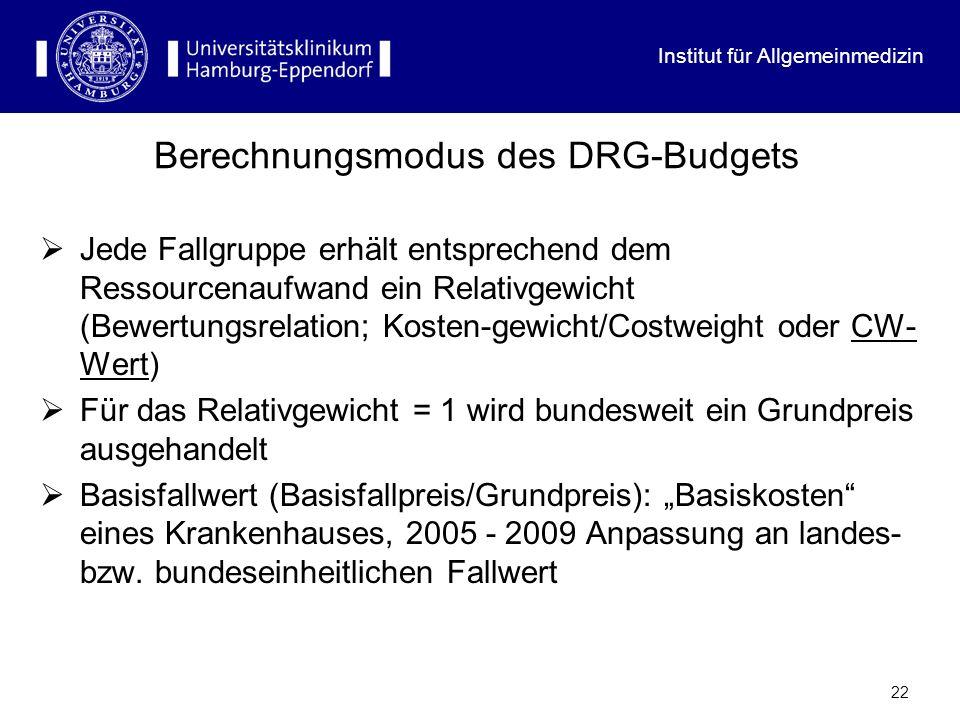 Institut für Allgemeinmedizin 22 Berechnungsmodus des DRG-Budgets Jede Fallgruppe erhält entsprechend dem Ressourcenaufwand ein Relativgewicht (Bewert