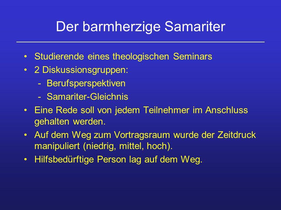 Der barmherzige Samariter Studierende eines theologischen Seminars 2 Diskussionsgruppen: -Berufsperspektiven -Samariter-Gleichnis Eine Rede soll von j