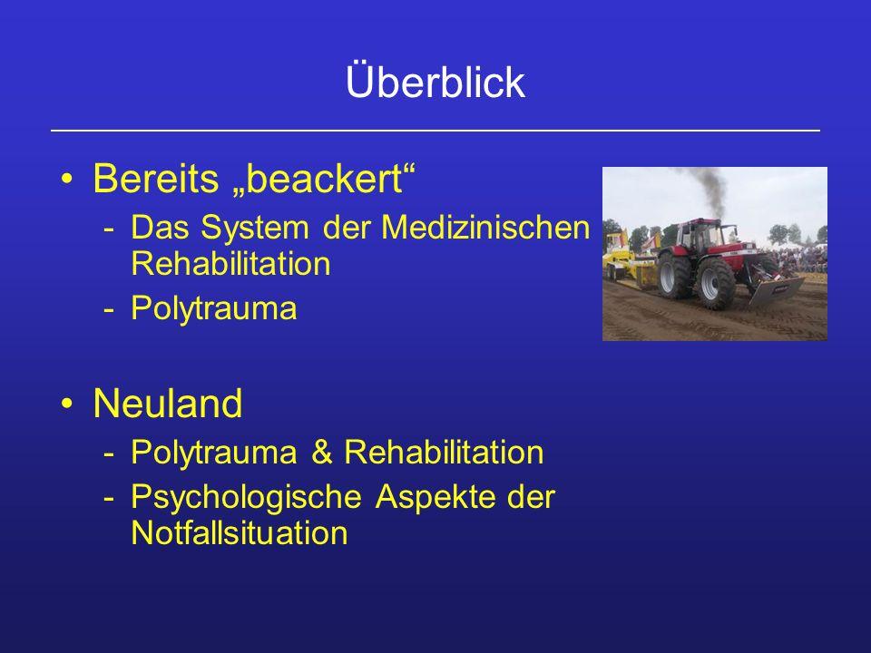 Überblick Bereits beackert -Das System der Medizinischen Rehabilitation -Polytrauma Neuland -Polytrauma & Rehabilitation -Psychologische Aspekte der N