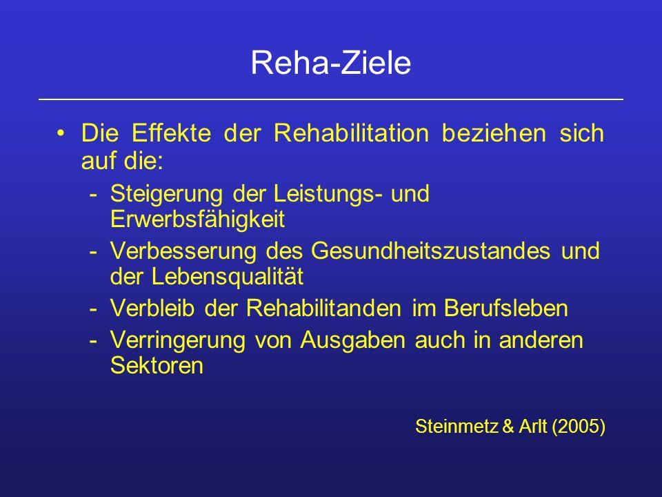 Reha-Ziele Die Effekte der Rehabilitation beziehen sich auf die: -Steigerung der Leistungs- und Erwerbsfähigkeit -Verbesserung des Gesundheitszustande