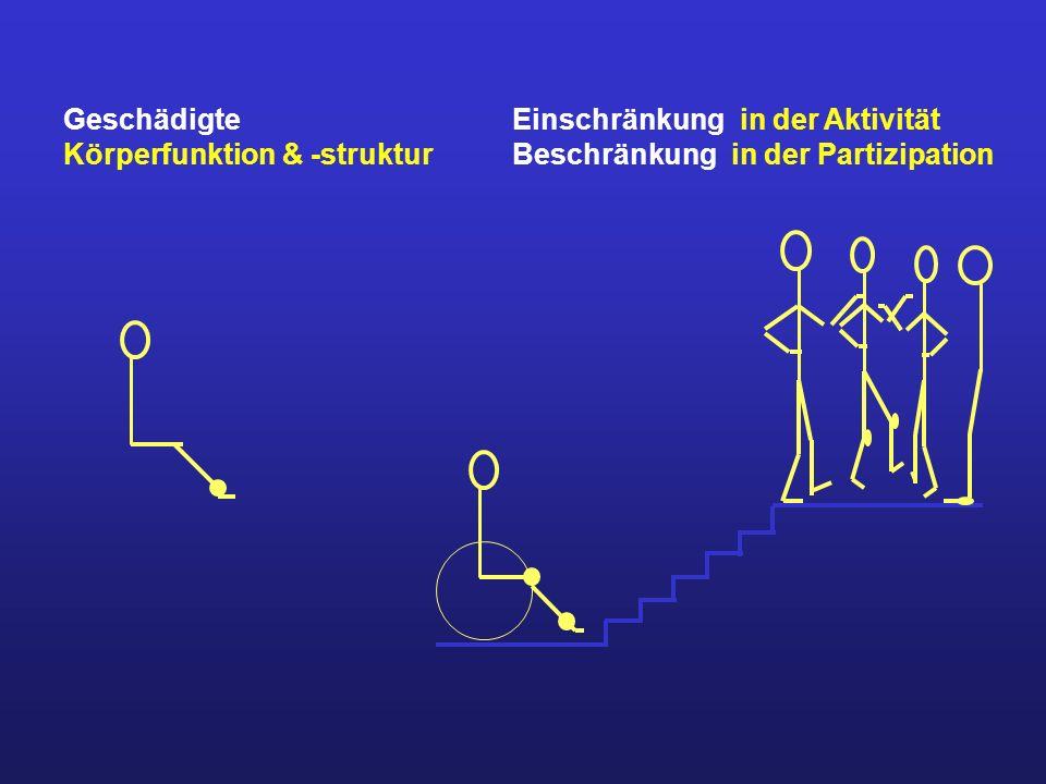 Geschädigte Körperfunktion & -struktur Einschränkung in der Aktivität Beschränkung in der Partizipation