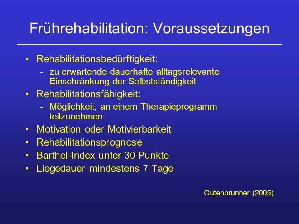 Frührehabilitation: Voraussetzungen Rehabilitationsbedürftigkeit: -zu erwartende dauerhafte alltagsrelevante Einschränkung der Selbstständigkeit Rehab
