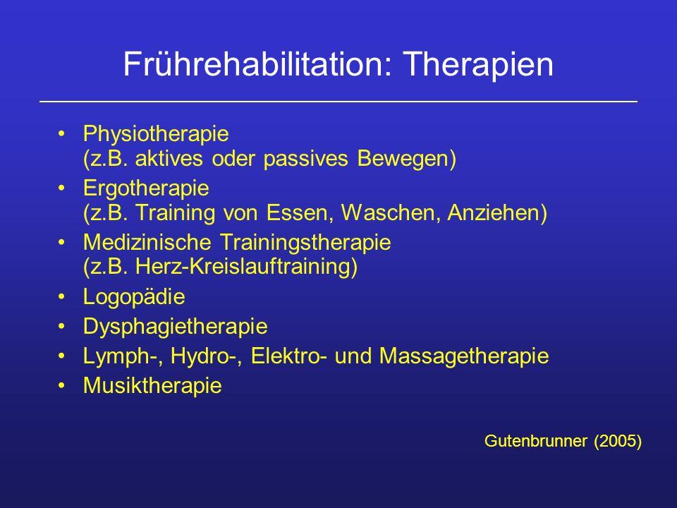 Frührehabilitation: Therapien Physiotherapie (z.B. aktives oder passives Bewegen) Ergotherapie (z.B. Training von Essen, Waschen, Anziehen) Medizinisc