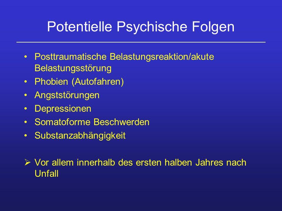 Potentielle Psychische Folgen Posttraumatische Belastungsreaktion/akute Belastungsstörung Phobien (Autofahren) Angststörungen Depressionen Somatoforme