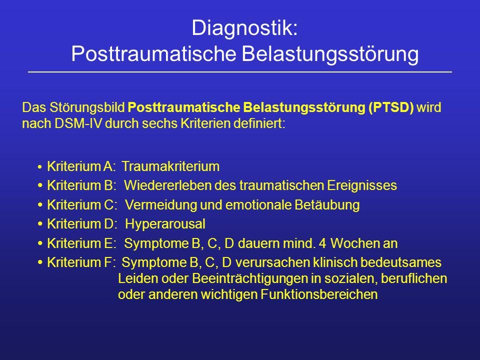 Das Störungsbild Posttraumatische Belastungsstörung (PTSD) wird nach DSM-IV durch sechs Kriterien definiert: Kriterium A: Traumakriterium Kriterium B: