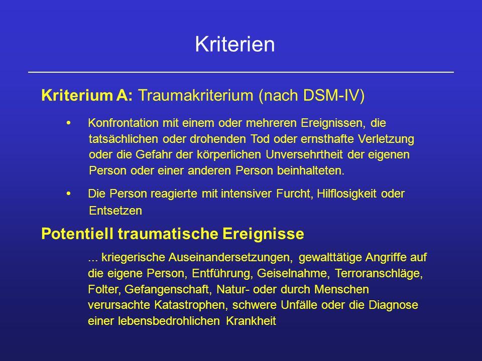 Kriterium A: Traumakriterium (nach DSM-IV) Konfrontation mit einem oder mehreren Ereignissen, die tatsächlichen oder drohenden Tod oder ernsthafte Ver