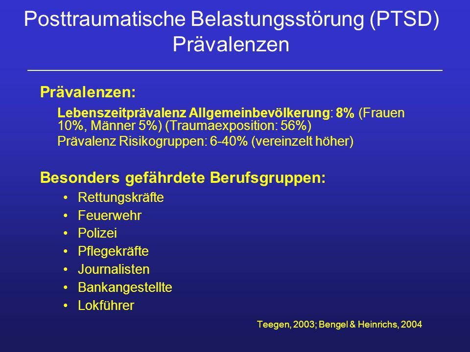 Posttraumatische Belastungsstörung (PTSD) Prävalenzen Prävalenzen: Lebenszeitprävalenz Allgemeinbevölkerung: 8% (Frauen 10%, Männer 5%) (Traumaexposit