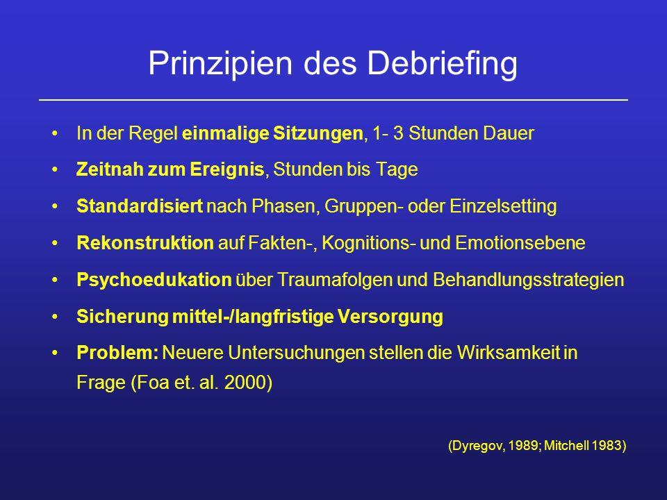 Prinzipien des Debriefing In der Regel einmalige Sitzungen, 1- 3 Stunden Dauer Zeitnah zum Ereignis, Stunden bis Tage Standardisiert nach Phasen, Grup