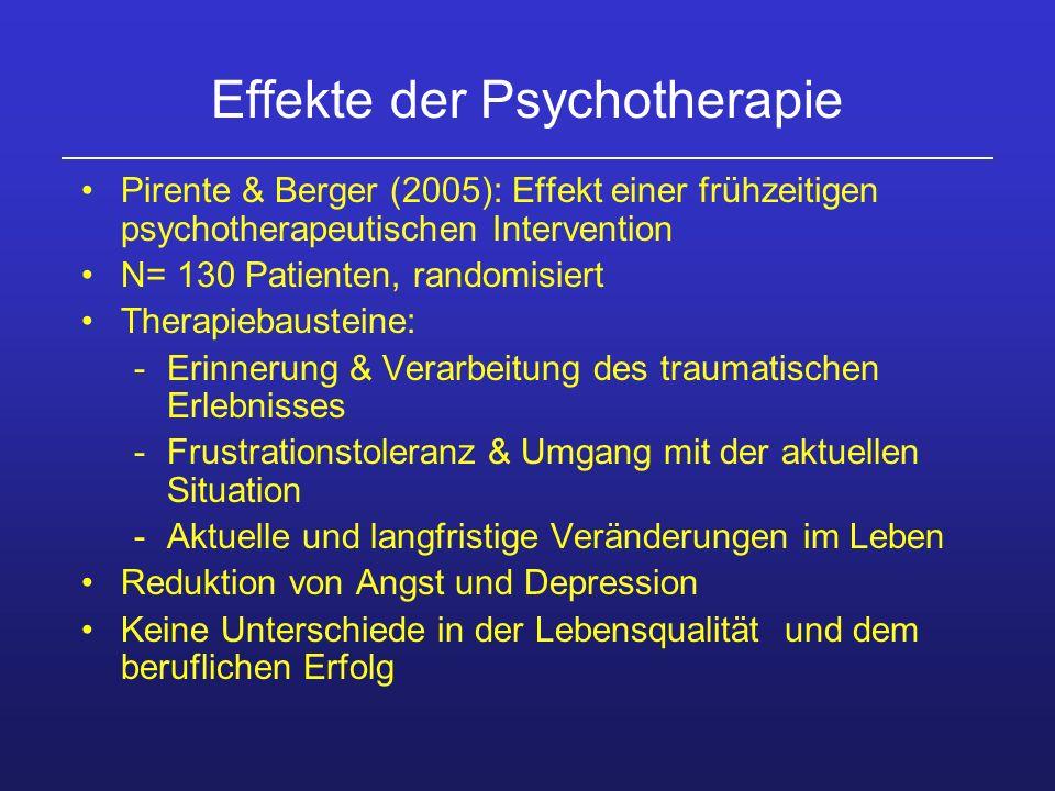 Effekte der Psychotherapie Pirente & Berger (2005): Effekt einer frühzeitigen psychotherapeutischen Intervention N= 130 Patienten, randomisiert Therap