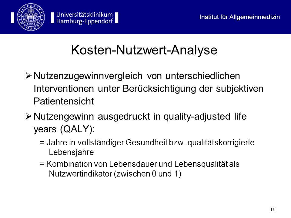 Institut für Allgemeinmedizin 15 Kosten-Nutzwert-Analyse Nutzenzugewinnvergleich von unterschiedlichen Interventionen unter Berücksichtigung der subje