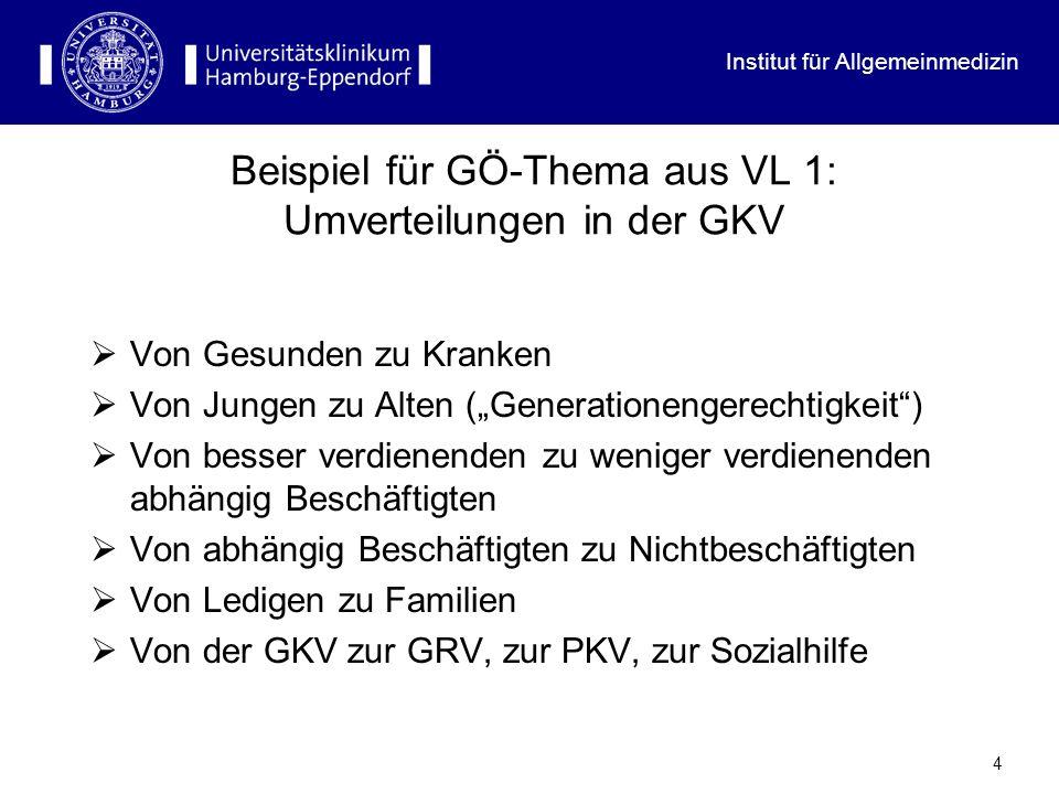 4 Beispiel für GÖ-Thema aus VL 1: Umverteilungen in der GKV Von Gesunden zu Kranken Von Jungen zu Alten (Generationengerechtigkeit) Von besser verdien