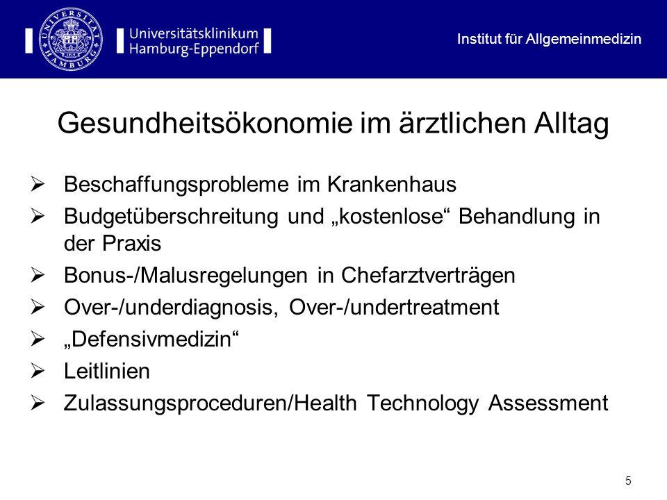 Institut für Allgemeinmedizin 5 Gesundheitsökonomie im ärztlichen Alltag Beschaffungsprobleme im Krankenhaus Budgetüberschreitung und kostenlose Behan
