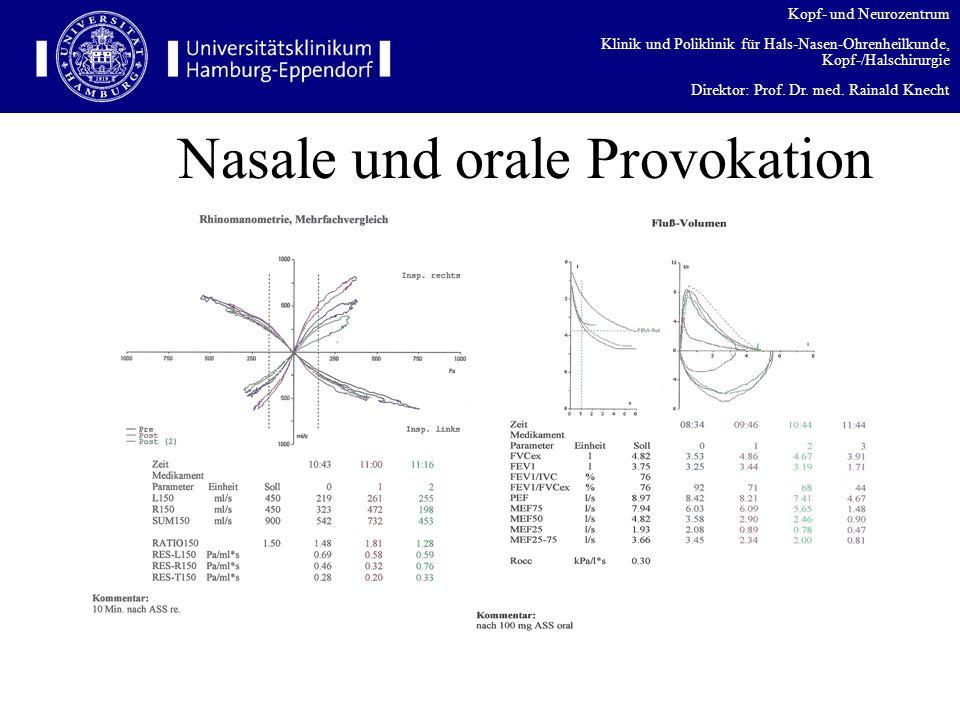 Kopf- und Neurozentrum Klinik und Poliklinik für Hals-Nasen-Ohrenheilkunde, Kopf-/Halschirurgie Direktor: Prof. Dr. med. Rainald Knecht Nasale und ora