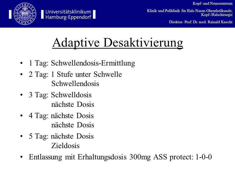 Kopf- und Neurozentrum Klinik und Poliklinik für Hals-Nasen-Ohrenheilkunde, Kopf-/Halschirurgie Direktor: Prof. Dr. med. Rainald Knecht Adaptive Desak