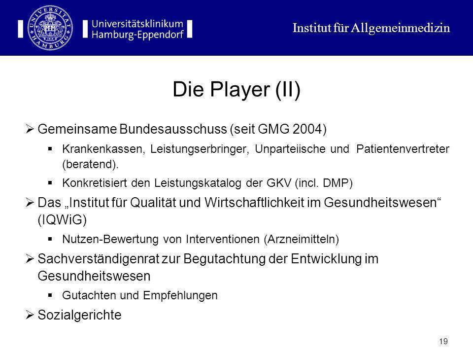 Institut für Allgemeinmedizin 18 Die Player (I) Die Leistungsanbieter: Kassenärztliche Vereinigungen, Krankenhausträger (Kommunen und Kirchen), Pharma