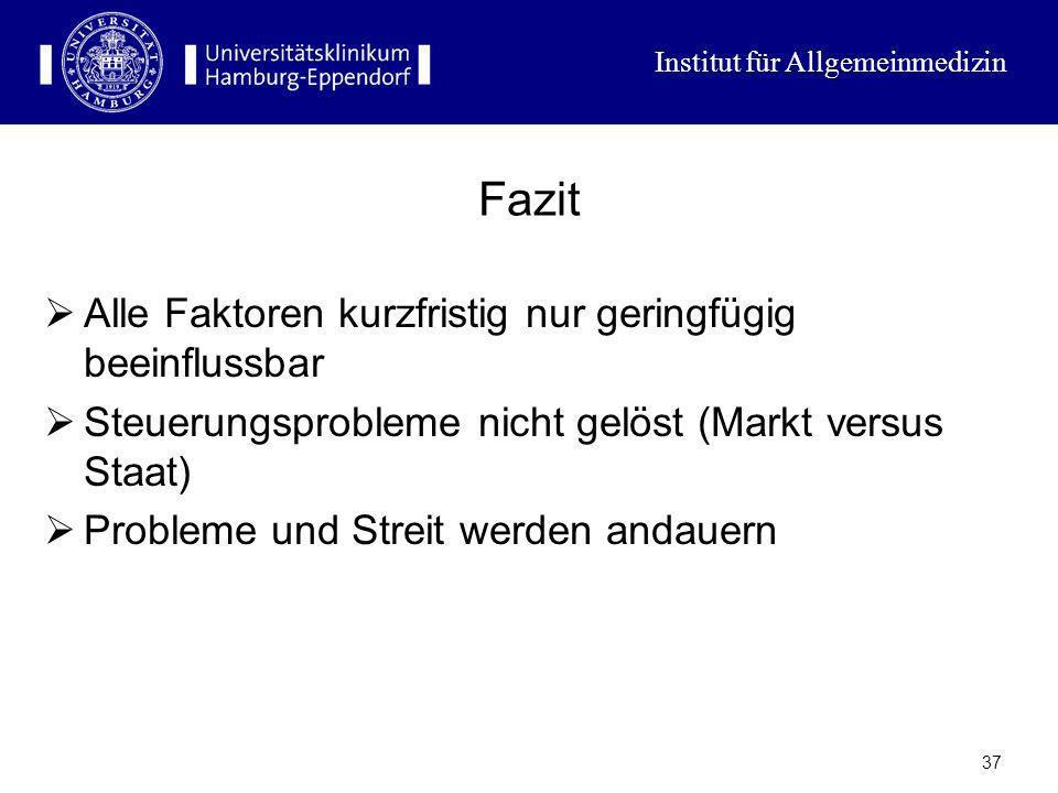 Institut für Allgemeinmedizin 36 Effizienzprobleme des Gesundheitssystems Ausrichtung des Versorgungssystems auf Akutkrankheiten (cure anstatt care) F