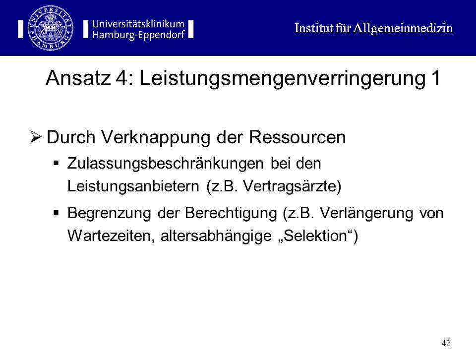 Institut für Allgemeinmedizin 41 Ansatz 3: Verlagerung der Kosten Erhöhung der gegebenen Selbstbeteiligung Neue Formen der Selbstbeteiligung (Praxisge