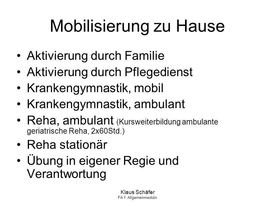 Klaus Schäfer FA f. Allgemeinmedizin Mobilisierung zu Hause Aktivierung durch Familie Aktivierung durch Pflegedienst Krankengymnastik, mobil Krankengy
