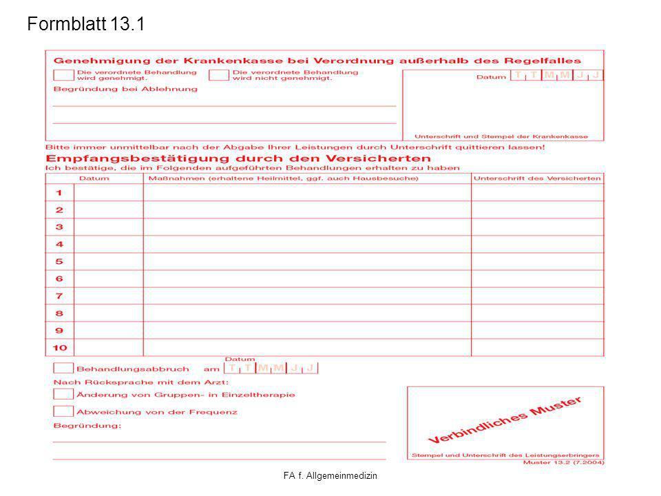 Klaus Schäfer FA f. Allgemeinmedizin Formblatt 13.1