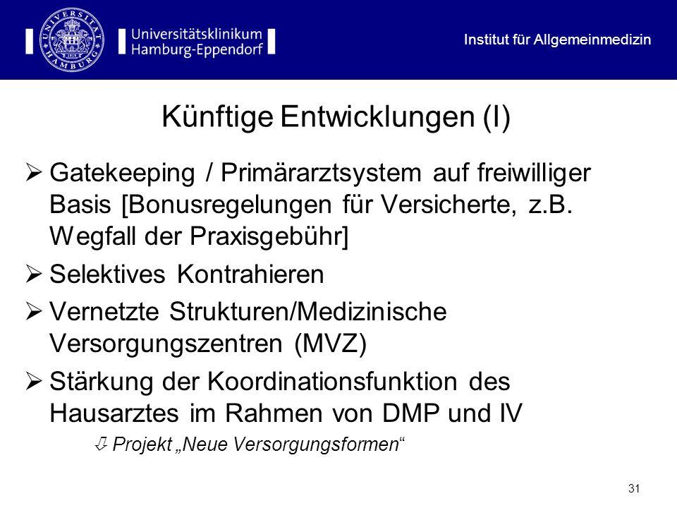 Institut für Allgemeinmedizin 30 Im Übrigen: Ein hausärztliches Gatekeeping gibt es (noch) nicht in...