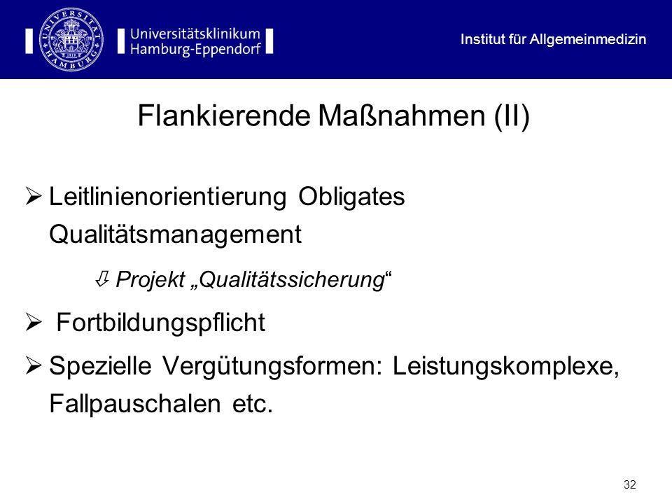 Institut für Allgemeinmedizin 31 Künftige Entwicklungen (I) Gatekeeping / Primärarztsystem auf freiwilliger Basis [Bonusregelungen für Versicherte, z.B.