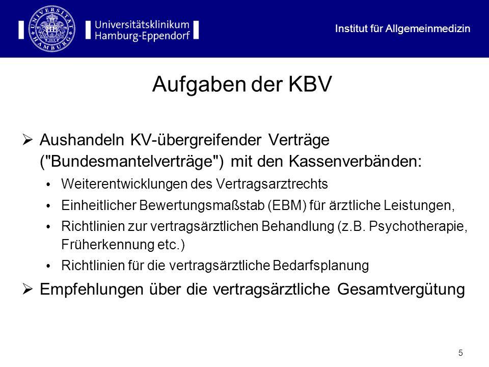 Institut für Allgemeinmedizin 5 Aufgaben der KBV Aushandeln KV-übergreifender Verträge ( Bundesmantelverträge ) mit den Kassenverbänden: Weiterentwicklungen des Vertragsarztrechts Einheitlicher Bewertungsmaßstab (EBM) für ärztliche Leistungen, Richtlinien zur vertragsärztlichen Behandlung (z.B.