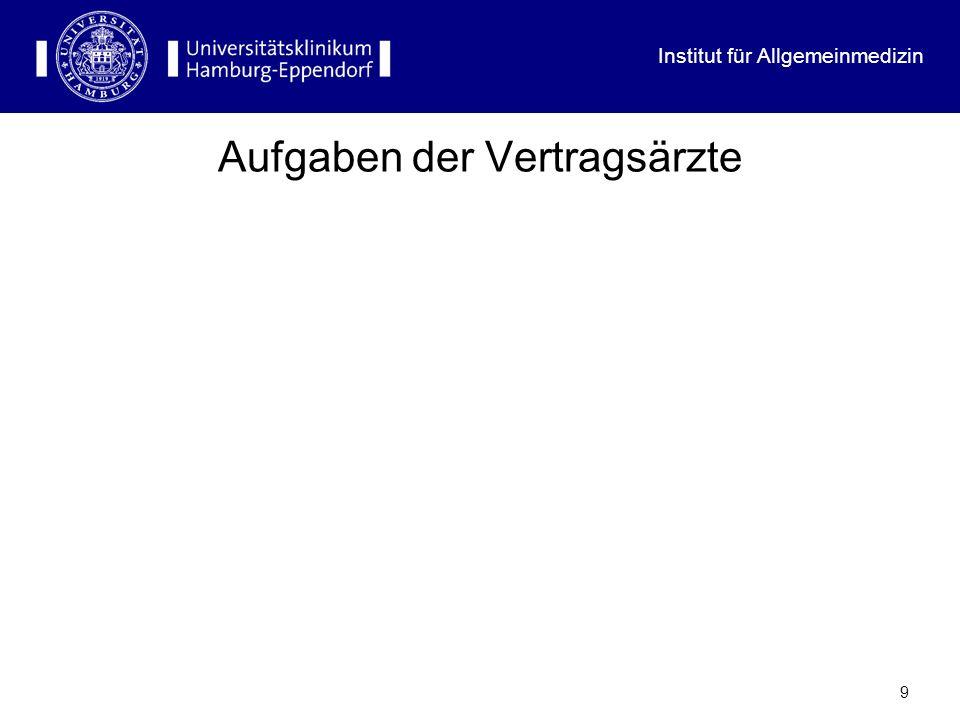 Institut für Allgemeinmedizin 29 Probleme der vertragsärztlichen Versorgung (II) Überqualifizierung der Spezialisten Kommende Feminisierung Abnehmende Bereitschaft zu investieren