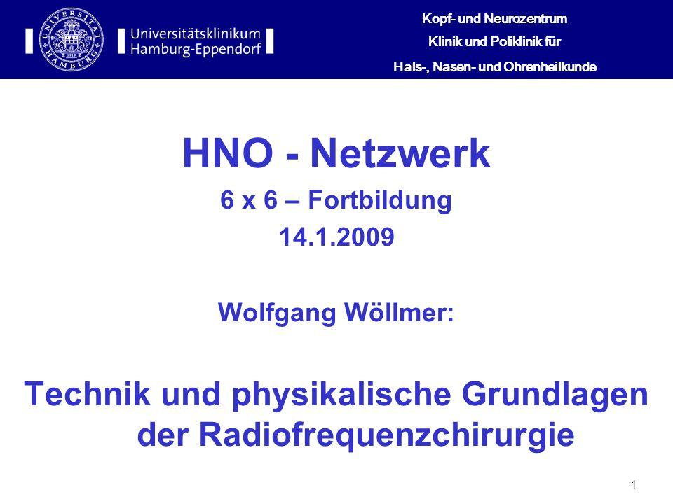 1 HNO - Netzwerk 6 x 6 – Fortbildung 14.1.2009 Wolfgang Wöllmer: Technik und physikalische Grundlagen der Radiofrequenzchirurgie Kopf- und Neurozentru