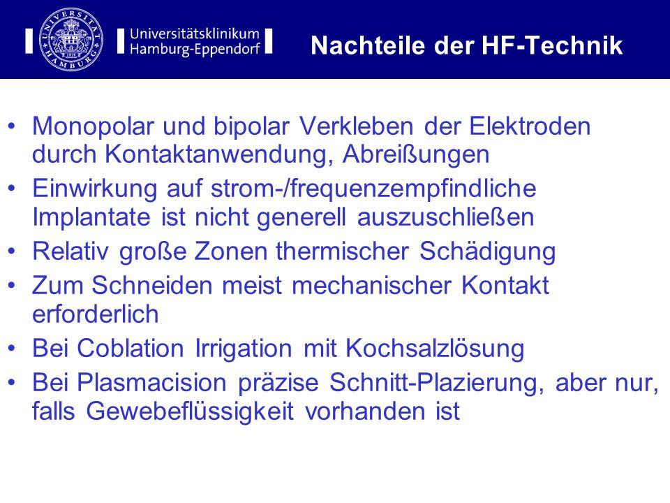 11 Nachteile der HF-Technik Monopolar und bipolar Verkleben der Elektroden durch Kontaktanwendung, Abreißungen Einwirkung auf strom-/frequenzempfindli