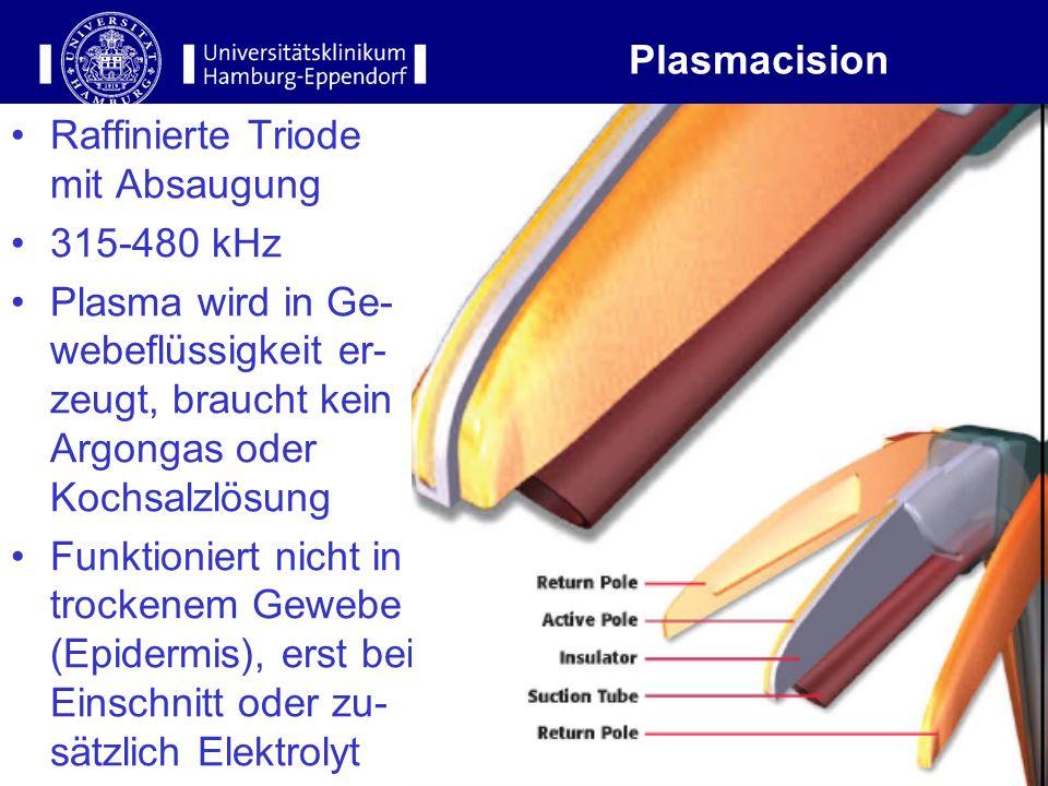 12 Plasmacision Raffinierte Triode mit Absaugung 315-480 kHz Plasma wird in Ge- webeflüssigkeit er- zeugt, braucht kein Argongas oder Kochsalzlösung F