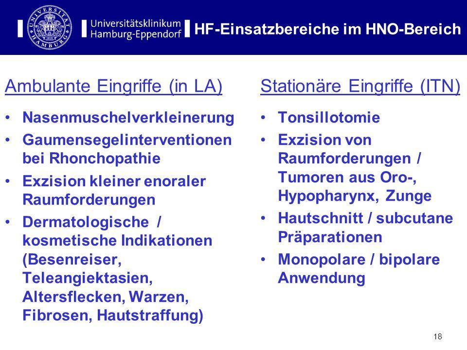 18 HF-Einsatzbereiche im HNO-Bereich Ambulante Eingriffe (in LA) Nasenmuschelverkleinerung Gaumensegelinterventionen bei Rhonchopathie Exzision kleine