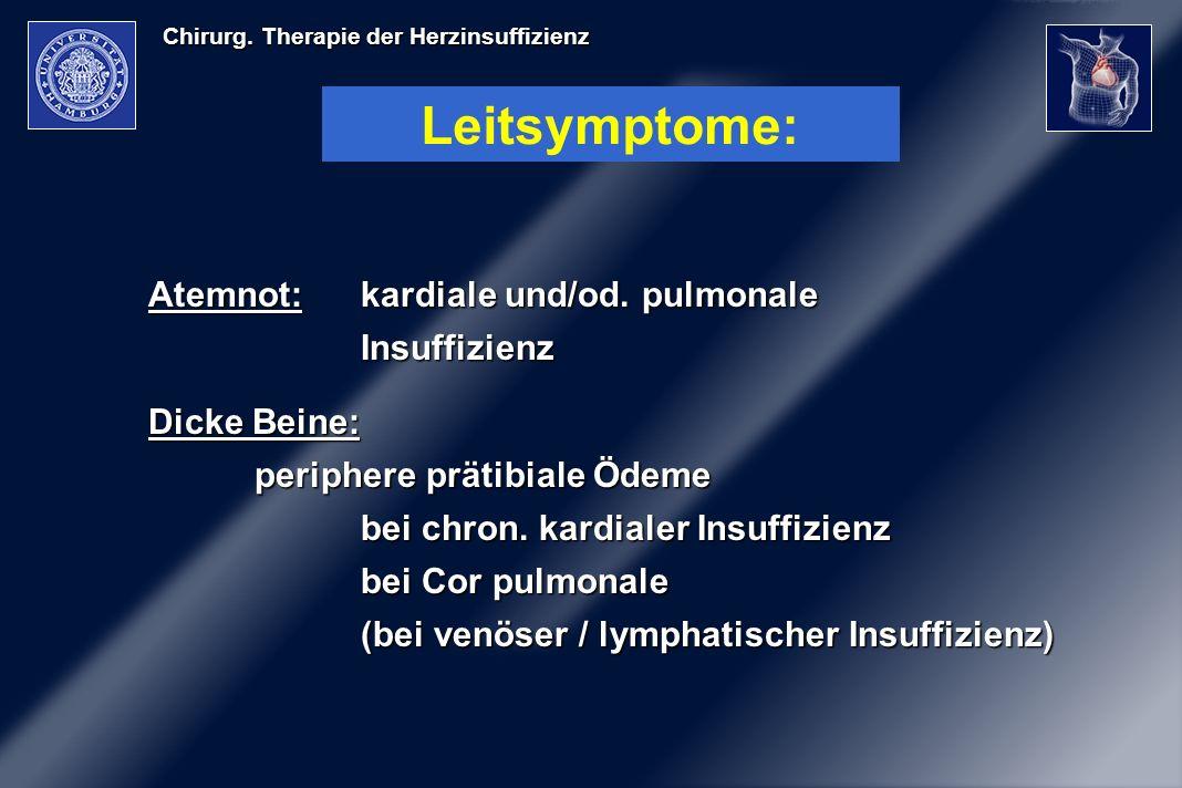 Chirurg. Therapie der Herzinsuffizienz Leitsymptome: Atemnot:kardiale und/od. pulmonale Insuffizienz Dicke Beine: periphere prätibiale Ödeme bei chron
