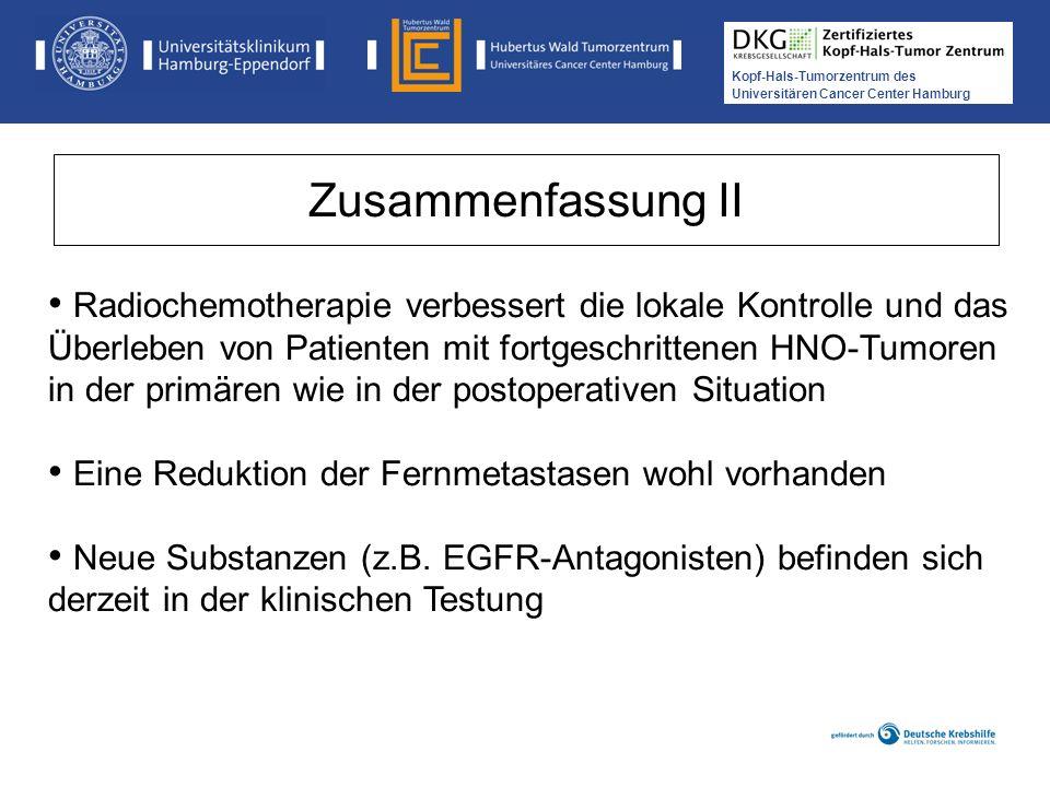 Kopf-Hals-Tumorzentrum des Universitären Cancer Center Hamburg Radiochemotherapie verbessert die lokale Kontrolle und das Überleben von Patienten mit