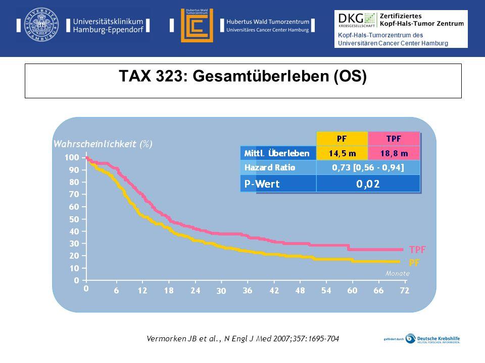 Kopf-Hals-Tumorzentrum des Universitären Cancer Center Hamburg Medikamentöse Tumortherapie der Kopf-, Hals-Tumoren TAX 323: Gesamtüberleben (OS) Vermo