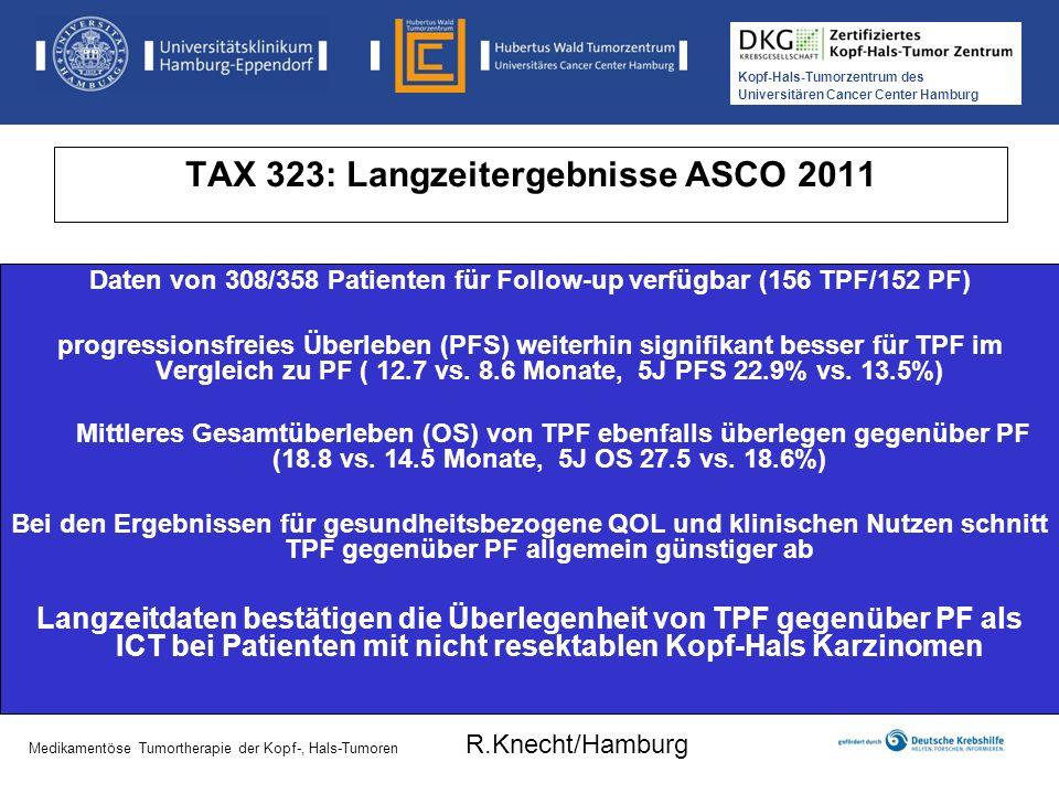 Kopf-Hals-Tumorzentrum des Universitären Cancer Center Hamburg Medikamentöse Tumortherapie der Kopf-, Hals-Tumoren TAX 323: Langzeitergebnisse ASCO 20