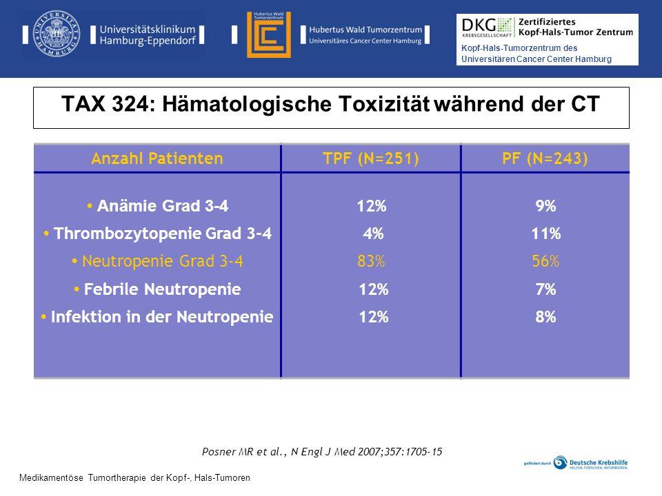 Kopf-Hals-Tumorzentrum des Universitären Cancer Center Hamburg Medikamentöse Tumortherapie der Kopf-, Hals-Tumoren TAX 324: Hämatologische Toxizität w
