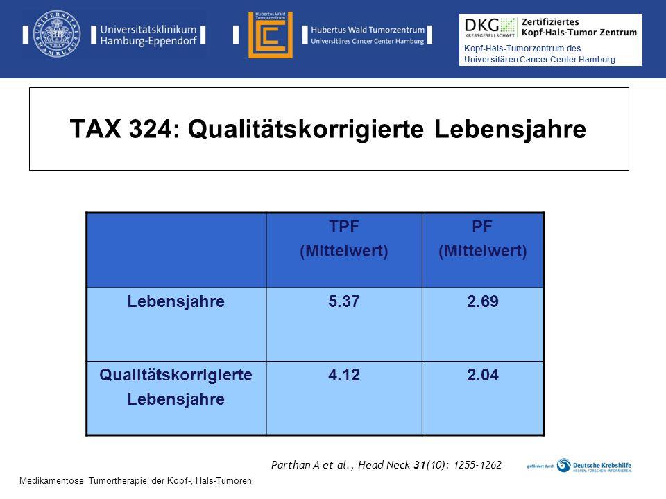 Kopf-Hals-Tumorzentrum des Universitären Cancer Center Hamburg Medikamentöse Tumortherapie der Kopf-, Hals-Tumoren TAX 324: Qualitätskorrigierte Leben