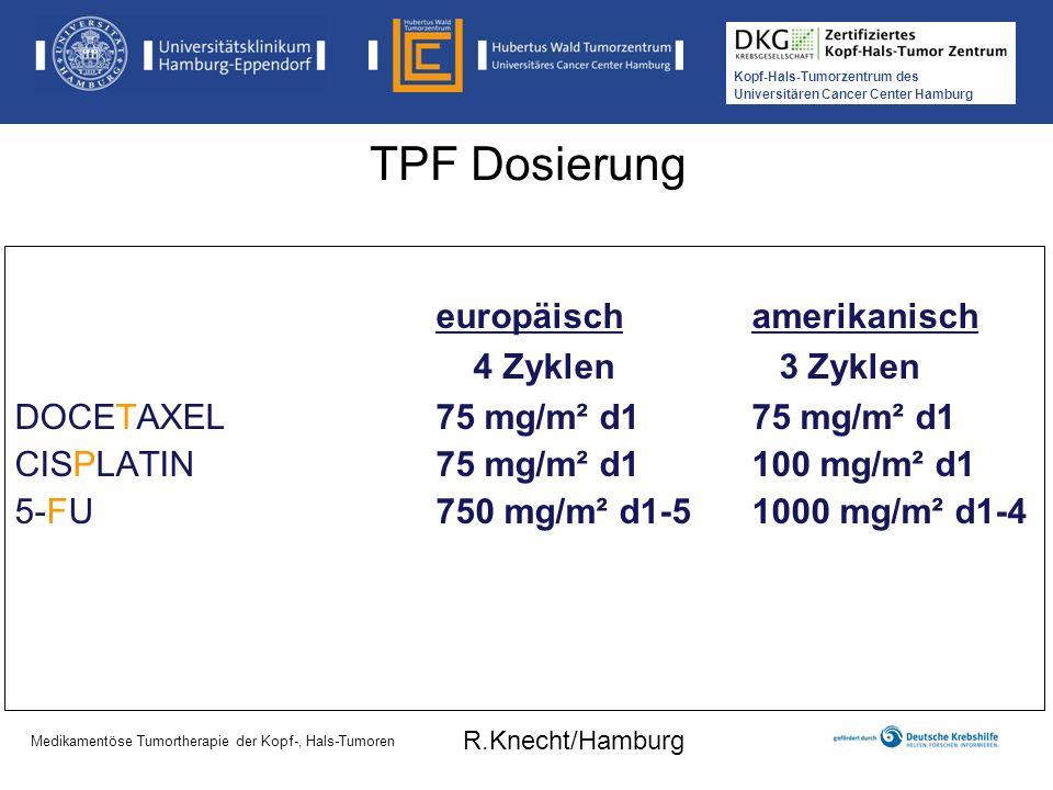 Kopf-Hals-Tumorzentrum des Universitären Cancer Center Hamburg Medikamentöse Tumortherapie der Kopf-, Hals-Tumoren TAX324: Schlussfolgerungen TPF verbessert gegenüber PF das Überleben signifikant 62% der TPF-Patienten sind nach 3 Jahren am Leben 14% absolute Verbesserung bei 3-Jahres-Überleben 30% Mortalitätsreduktion (p = 0,0058) OS und PFS nach 1 bis 5 Jahren war für HPV+ vs.