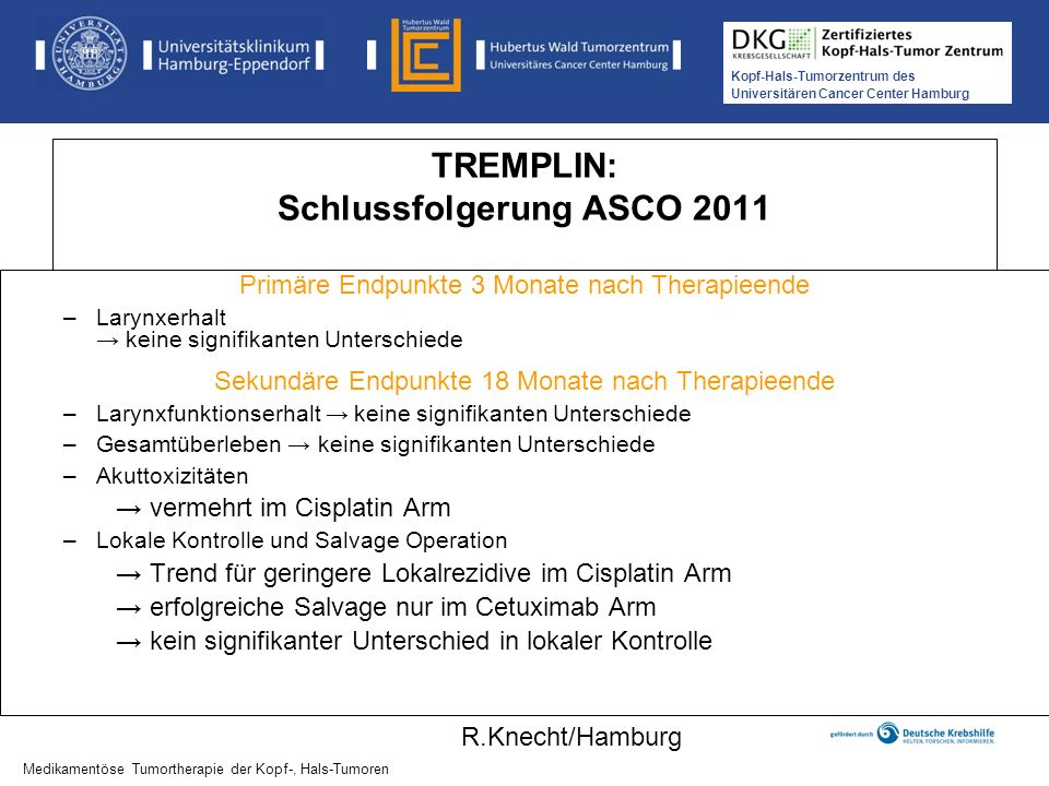 Kopf-Hals-Tumorzentrum des Universitären Cancer Center Hamburg TREMPLIN: Schlussfolgerung ASCO 2011 Primäre Endpunkte 3 Monate nach Therapieende –Lary